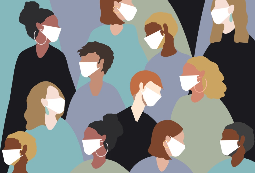 Illustration of people in masks from diverse background
