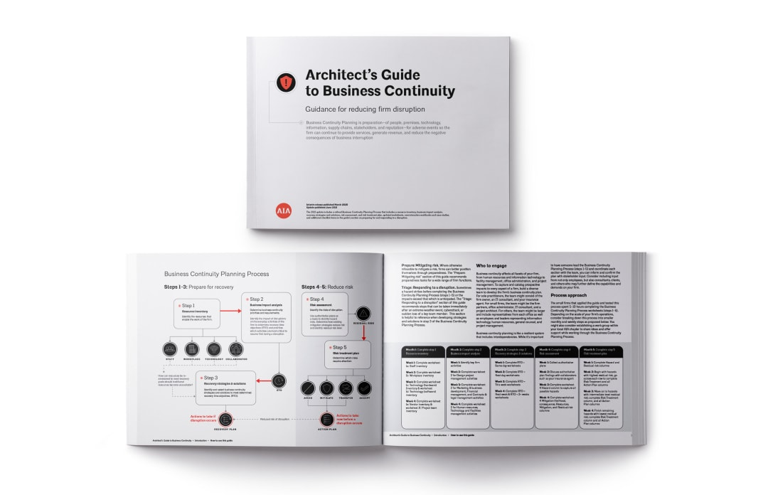 Cover and example pages from the Architect's Guide to Business Continuity