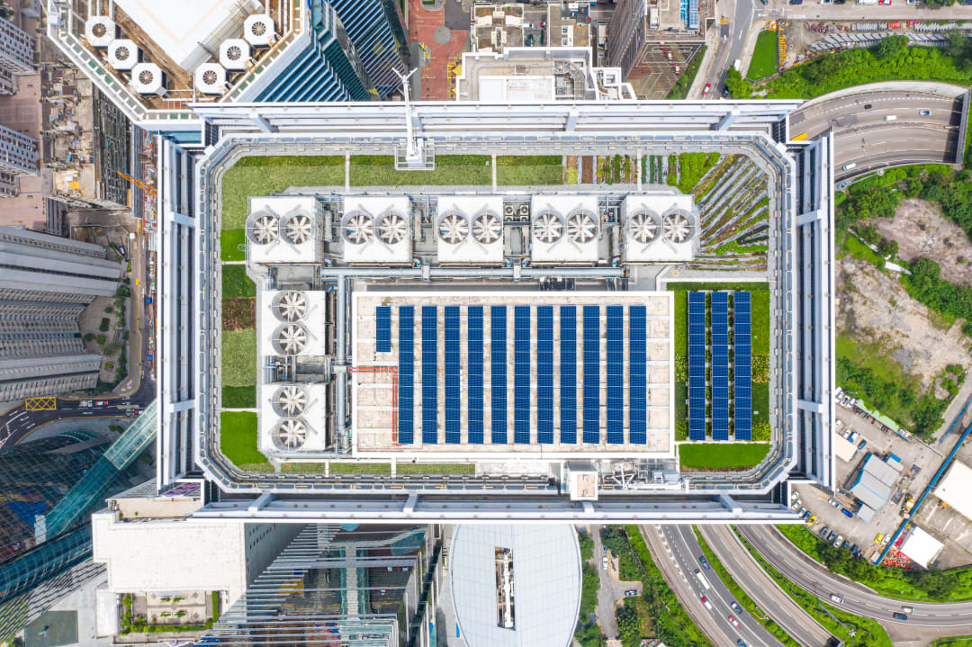urban building with solar and green roof