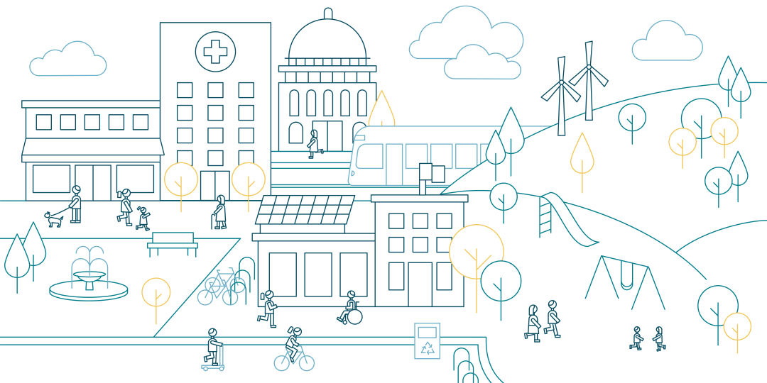 illustration of people in a small town