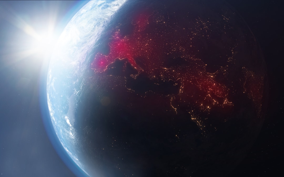 Earth from space with COVID-19 map
