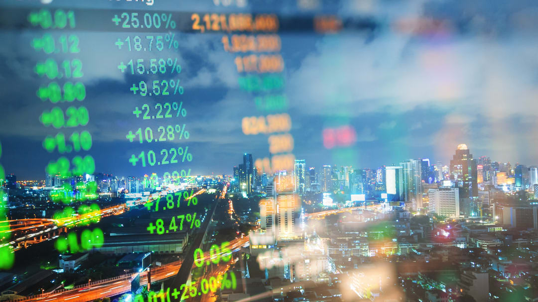 Cityscape thailand with investment theme background and stock market chart