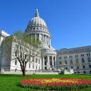 The Wisconsin State Capitol building in springtime