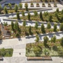 Community healing garden, with a variety of activity zones, extends up and over parking garage.