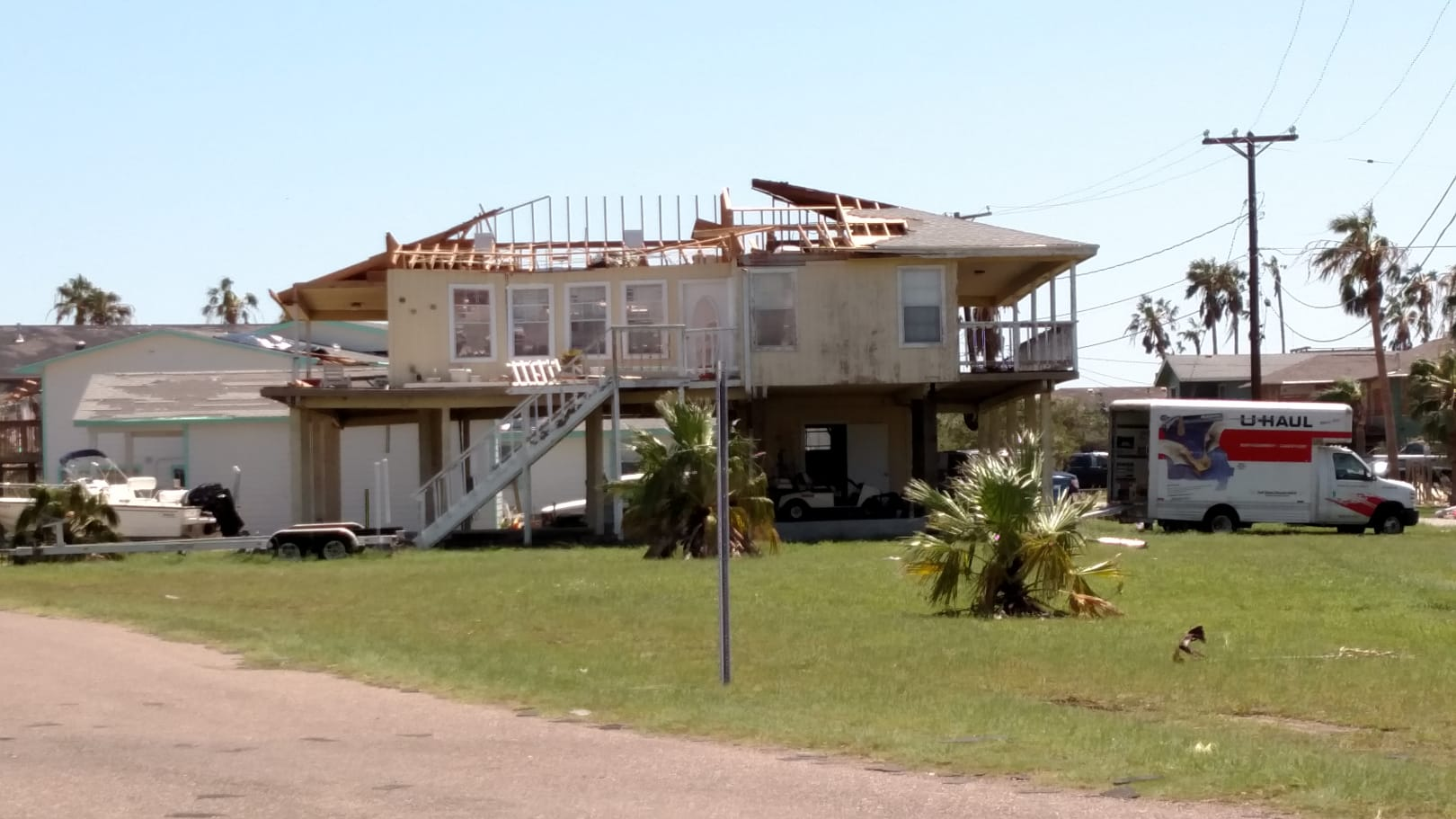 A building damaged by Hurrican Harvey