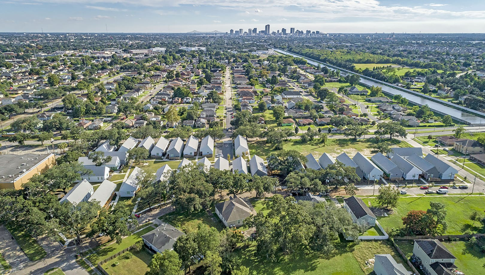 Bastion Community, aerial, with view to downtown New Orleans, Photo by Jackson Hill, 2018.