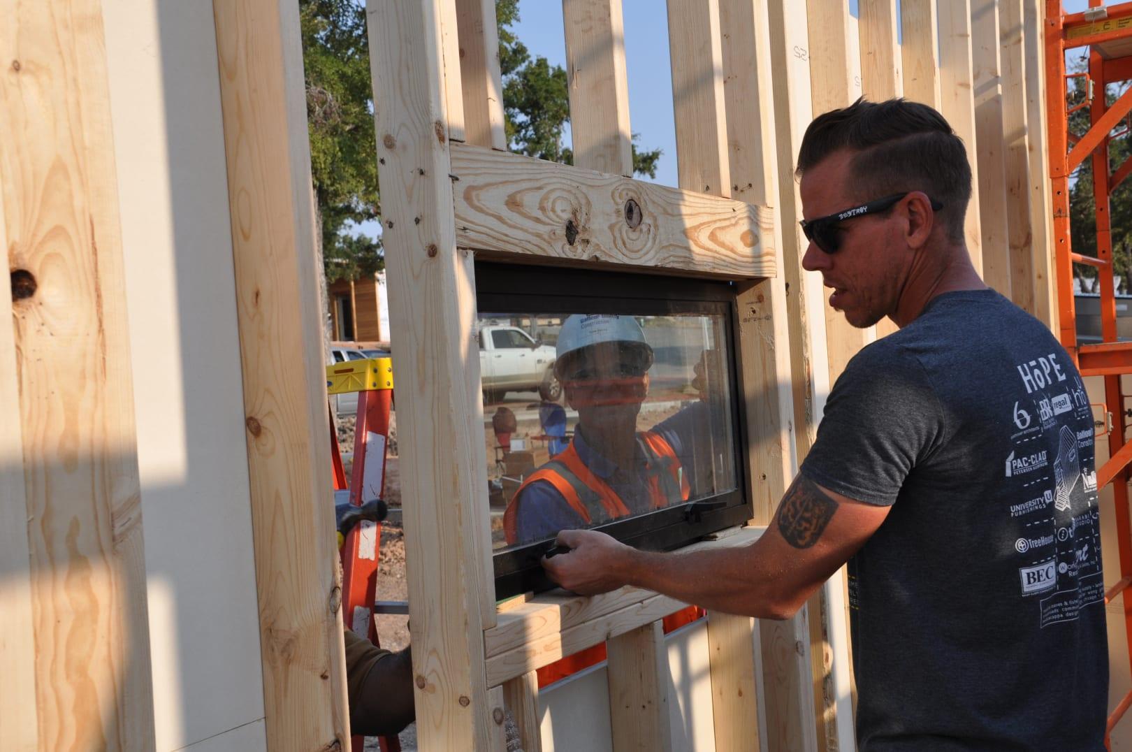 David Carroll working on Hope Chapel building construction