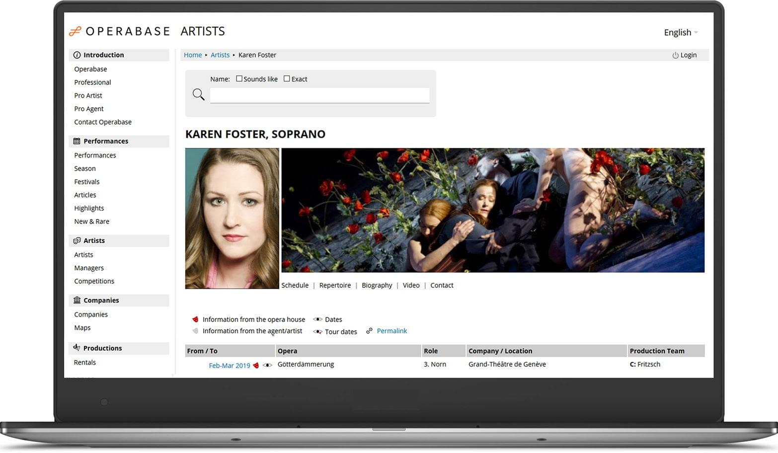artist search example image