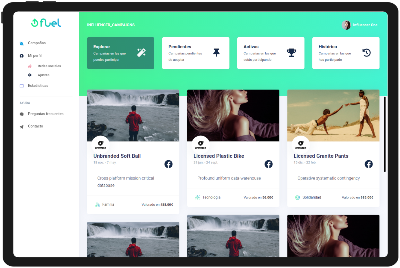 Influencers Dashboard