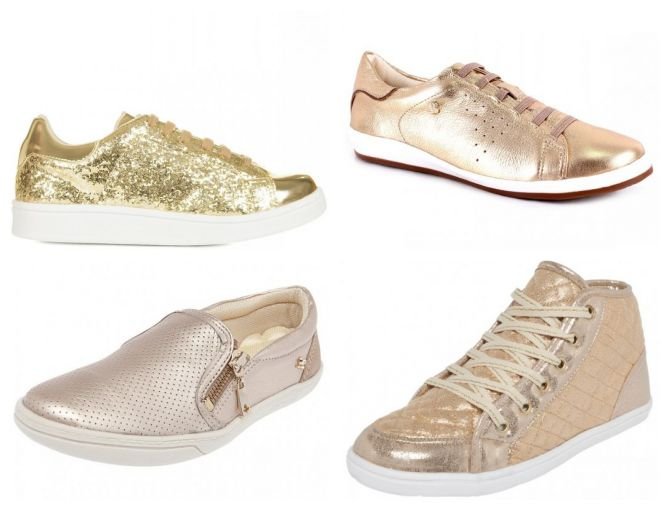 modelos de tênis dourado
