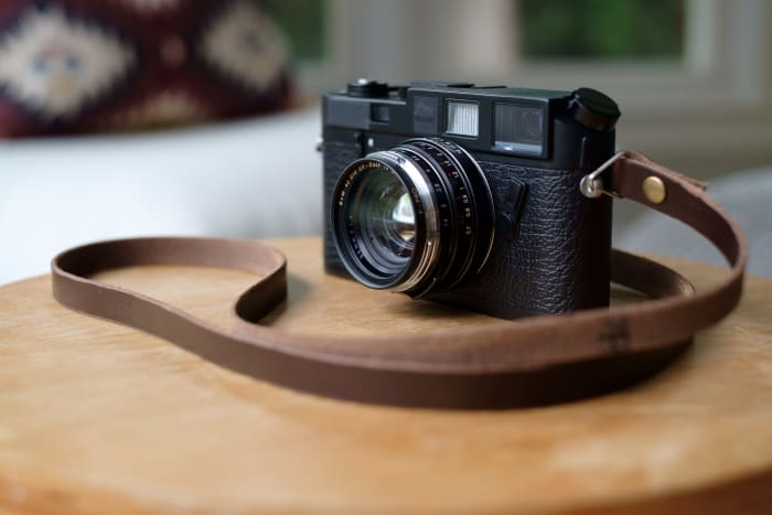 leica m6 with leather camera strap