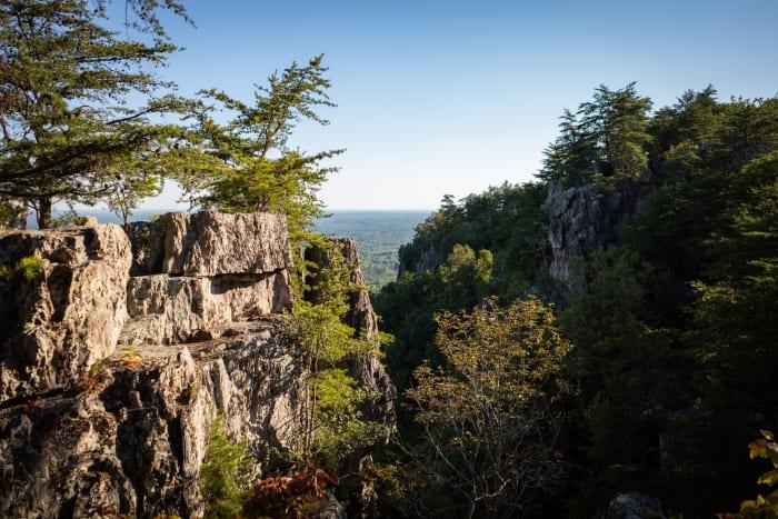 peaks of rocks on mountain