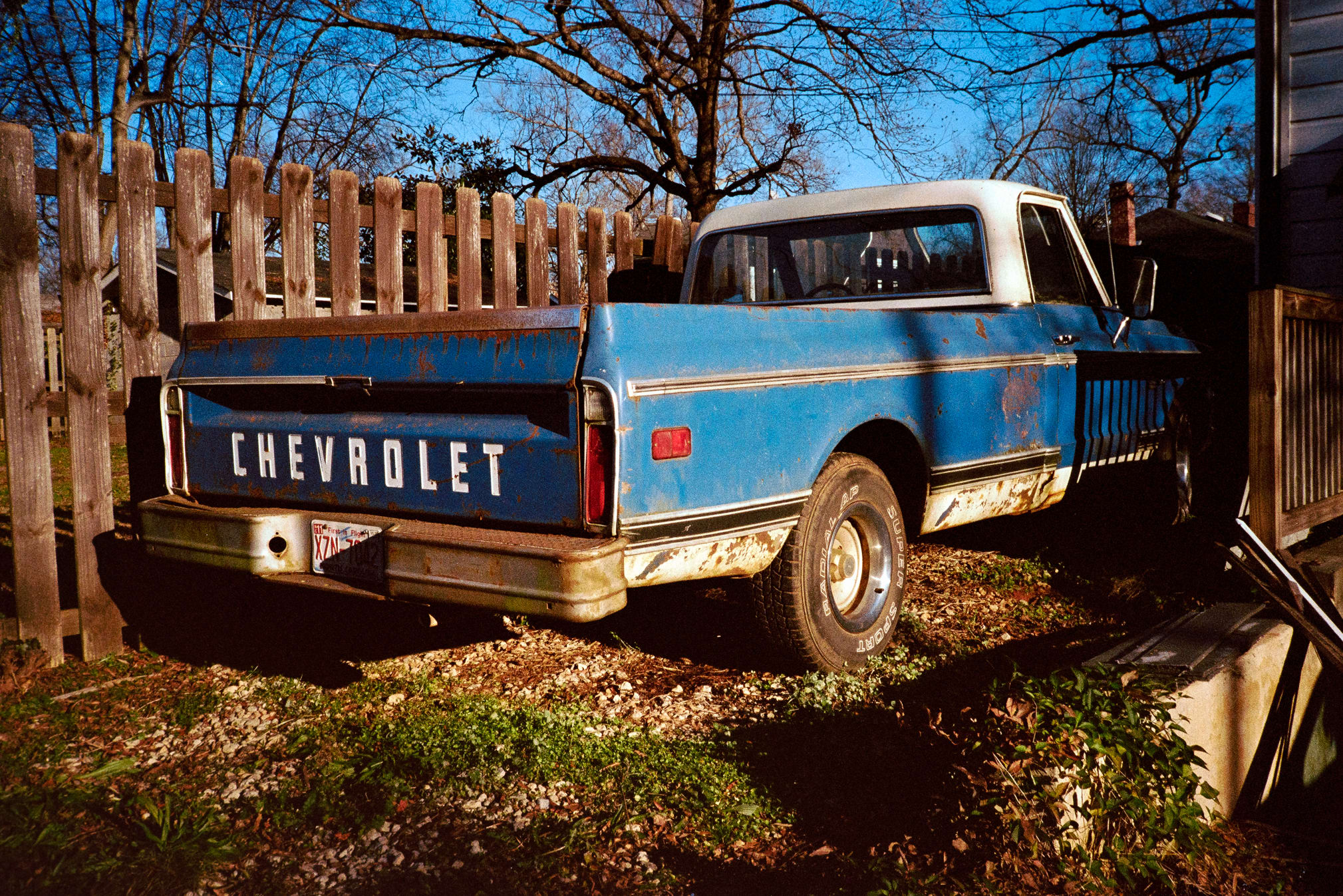 old blue chevrolet truck