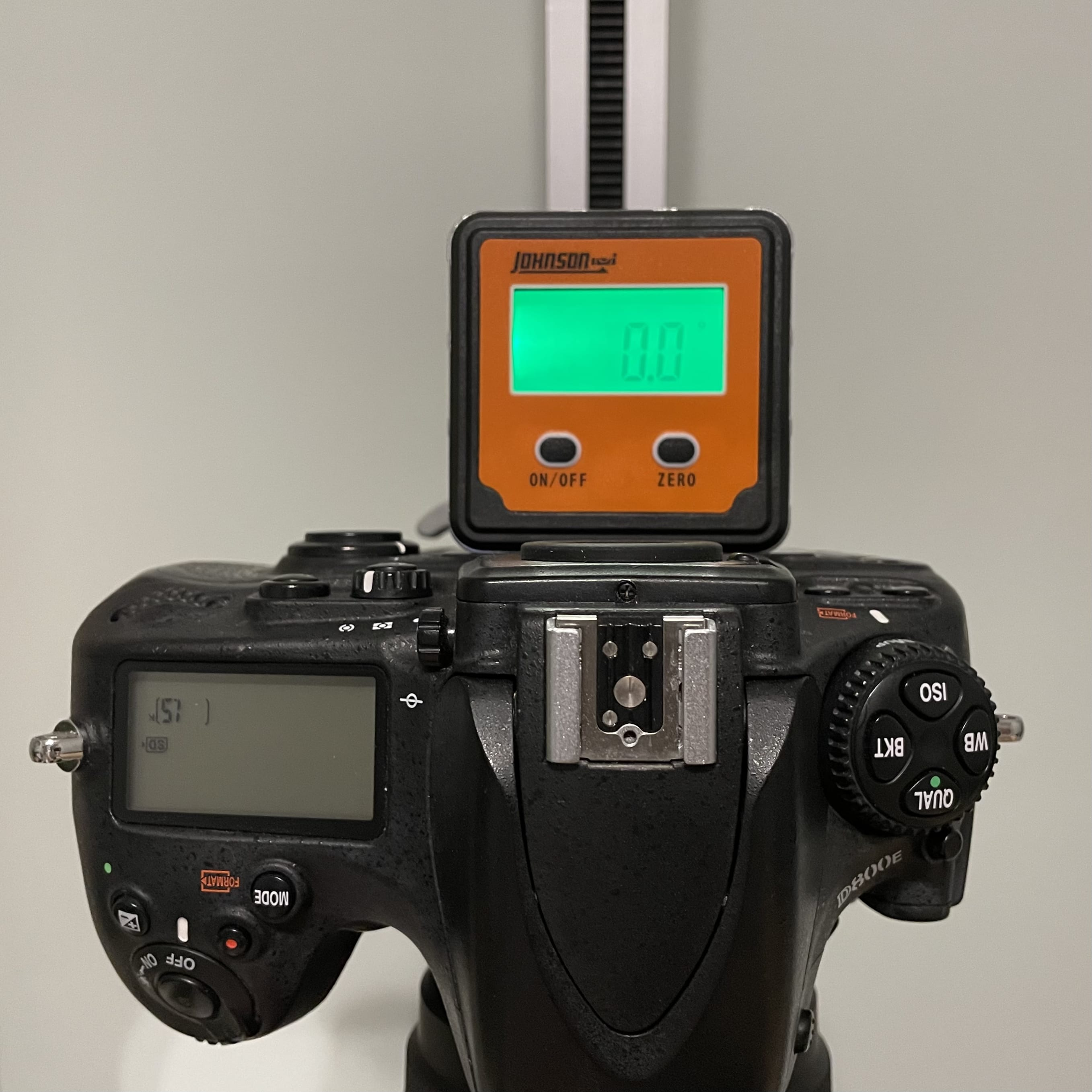 digital level on top of camera facing down