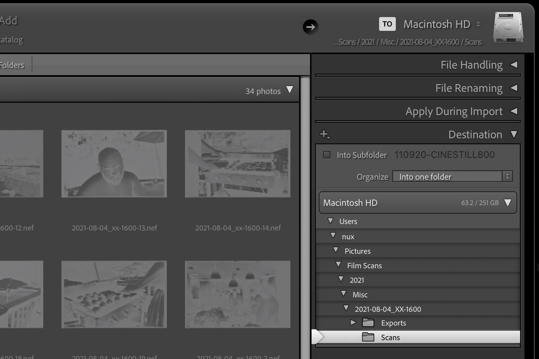 screenshot of lightroom's import feature
