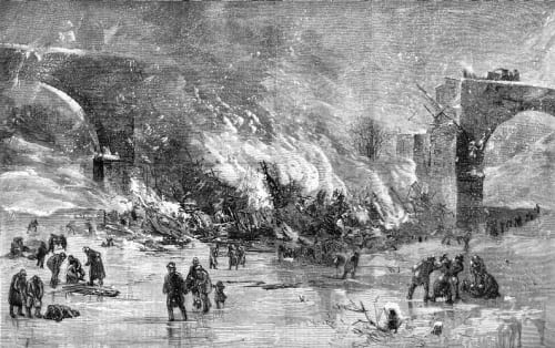 Drawing of Ashtabula Train Disaster