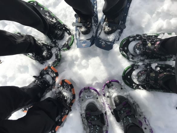 shot of five people's feet in snow shoes arranged in a circle in the snow
