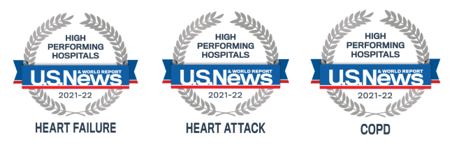 """U.S. News & Word Report ranks Iredell Memorial Hospital """"high performing"""" in heart failure, heart attack and COPD."""