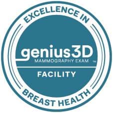 Excellence in Breast Health graphic with KDH being a Genius 3D Mammography Exam facility.