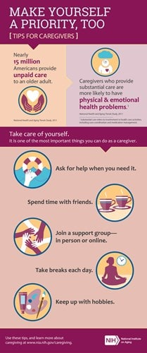 Infographic with tips for caregivers