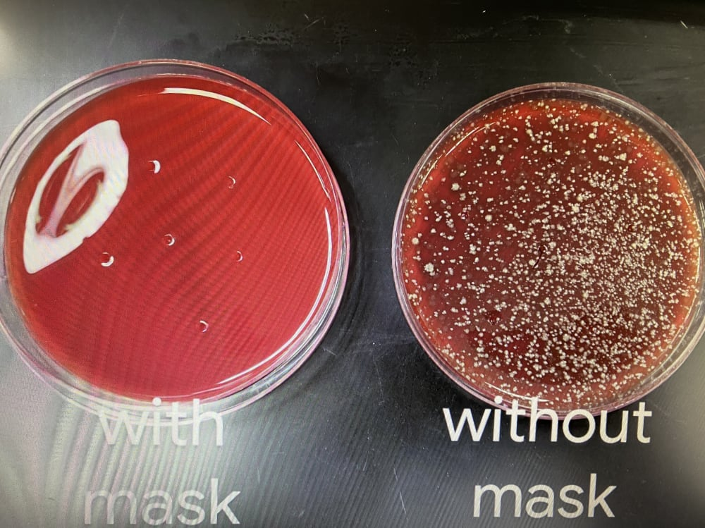 lab experiment illustrates effectiveness of masks
