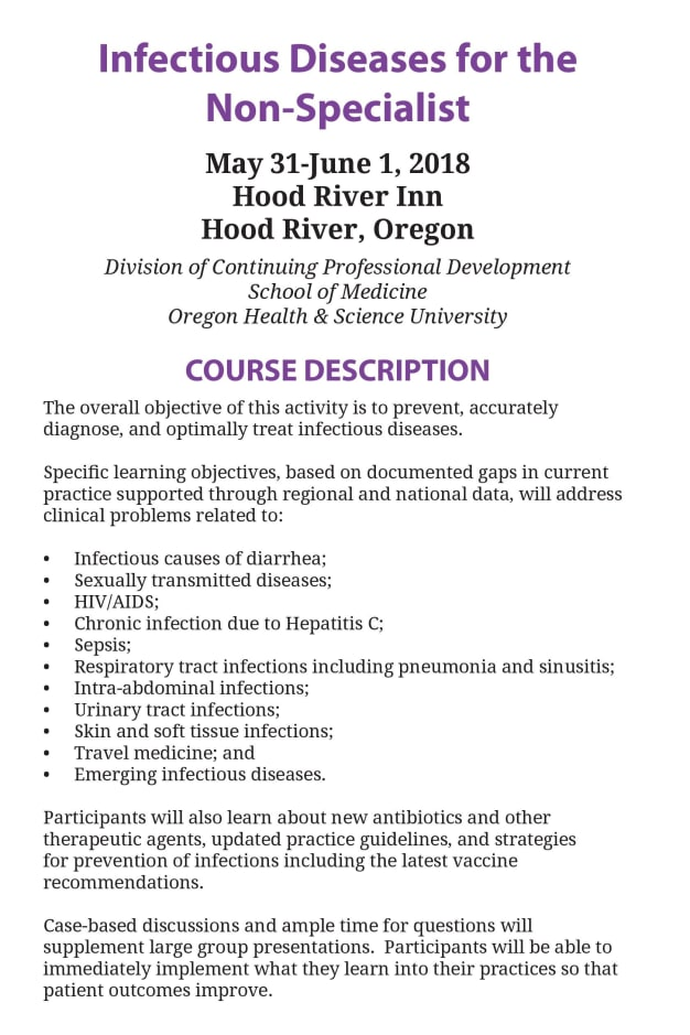 May 31st-June 1st: Infectious Diseases for the Non