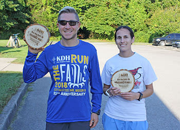 Top overall male and female finishers at the 2018 RUN the FALLS 5K on Saturday, September 29 at Clifty Falls State Park