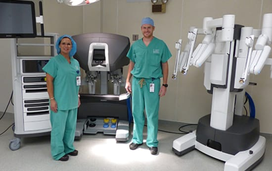 Teresa Buol, FNP-C, and Urologist Eric McQueary, D.O., with Lake Regional Health System's new da Vinci X robotic surgery system