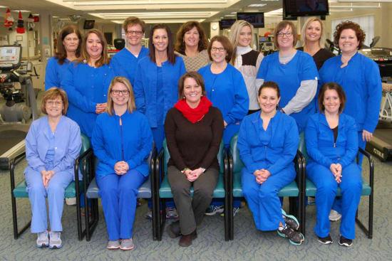 Pictured from the Cardiopulmonary Rehab team are (front row) Vickie Barickman, PAC; Brianne Long, R.N.; Jennifer Newman, R.N., director of Cardiopulmonary Rehabilitation; Monica Lindner, R.N.; Lauren Basler, R.N.; (back row) Jeanne Dickemann, R.N.; Robyn Adams, R.N.; Andrea Heimgartner, R.N.; Jessica Johnson, R.N.; Anita Marlay, R.D.; Belinda Brown, R.N.; Stephanie Ezard, R.N.; Shannon Geasley, R.N.; Jody Corpe, E.P.; and Lyndsay Funke, R.N.