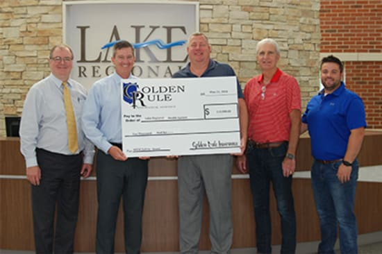 Lake Regional Health System receives a $10,000 workplace safety grant from Missouri Employers Mutual. Pictured are Kevin McRoberts, senior vice president of Lake Regional Operations; Dane W. Henry, Lake Regional CEO; Jeff Bethurem, risk manager at Golden Rule Insurance Agency; JL Brenizer, co-owner of Golden Rule Insurance Agency; and Nick Brenizer, office/sales manager at Golden Rule Insurance Agency.