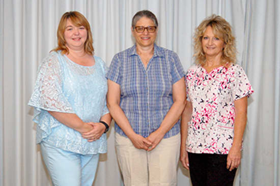 Recipients of the Lake Regional Service Recognition Award for 25 years of continuous service were Cheri Sisson, Mary Baumchen and Pamela Walters. Not pictured is Eve Winters.