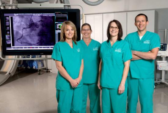 Lake Regional Cardiac Catheterization team members Jessica Havens, Rachelle Sousley, Sarah Stark and Nathan Steingrubey