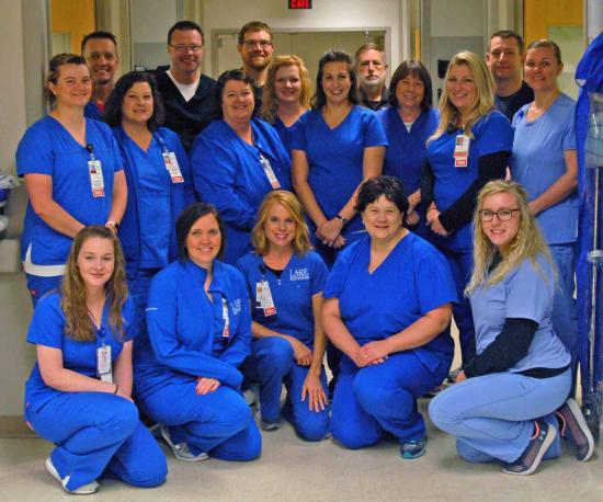 Pictured from the Lake Regional Emergency Department are (back row) Bruce Schlager, R.N., Doug Wilson, M.D.; Chris Thompson, R.N., SFL; Mariah Swinker, R.N.; Phil Wilkinson, paramedic; Alan Wilson, M.D.; (middle row) Crystal Lloyd, R.N.; Wendy Pryor, R.N.; Kathleen Bybee, R.N.; Launa Walters, R.N.; Denise Hughes, R.N.; Candice Williams, R.N.; Erin Wyrick, HUC; (front row) Beth Sarver, R.N.; Hailey Dunn, R.N.; Amy Funderburk, R.N.; Stephanie Dominique, R.N.; and Hannah McDaniel, PCT.