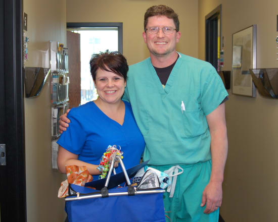 Amanda Perkins, LPN, Lake Regional Podiatry, received the Licensed Practical Nurse of the Year award. This award recognizes a nurse who demonstrates commitment to providing excellent care by participating in quality improvement initiatives and educational opportunities. Perkins lives in Lebanon. She is pictured with Lake Regional Podiatrist Cody Fox, DPM, FACFAS.