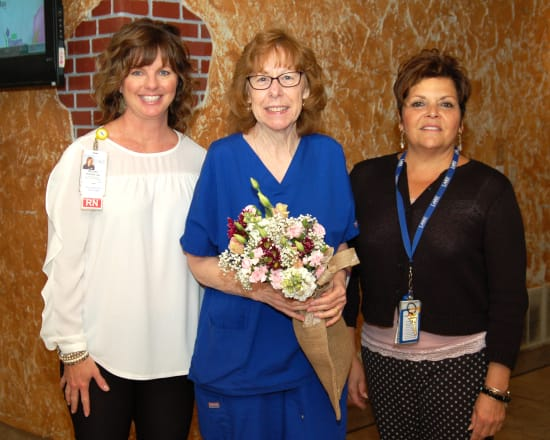 Shari Rhoades, R.N., Home Health, received the Mentorship award. This award recognizes a nurse who is known for helping other nurses learn and succeed. Rhoades lives in Camdenton. She is pictured with Melissa Hunter, director of Nursing, and Patti Muxlow, senior vice president of Clinical Services.