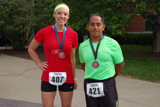 Medals were awarded to Lake Regional 5K Fun Run participants in men's and women's divisions in seven age categories. The overall winners were Jodi Wolfe (24:43), women's division, and Nigher Alfaro (19:29), men's division.