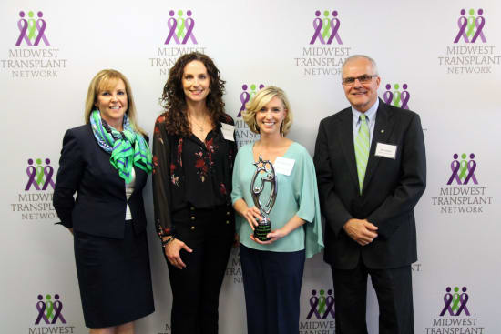 Midwest Transplant Network presents Lake Regional Health System with the Excellence in Donation Award for 2016 at an April 20 ceremony in Westwood, Kan. Pictured are Midwest Transplant Network COO Jan Finn (far left) and CEO Rob Linderer (far right) and Lake Regional's Critical Care Lead Amy Kempf, R.N., and Director of Critical Care Erin Whitcomb, R.N.