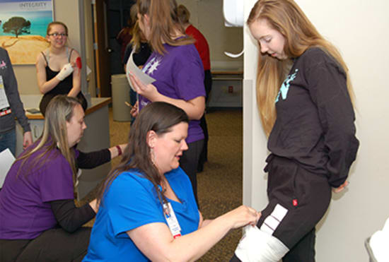 Students from the Greater Ozarks Centers for Advanced Professional Studies (GOCAPS) program, along with Lake Regional Auxiliary members, volunteered to serve as mock victims of a local building collapse for a patient surge drill at Lake Regional Hospital on April 12.
