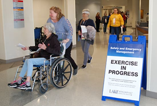The surge drill provided an opportunity for Lake Regional Emergency Department to practice its response to a sudden influx of patients, including many with time-critical needs.