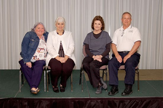 Recipients of the Lake Regional Service Recognition Award included Carol Meyer (40 years), Regina Frohoff and Penny Williams (35 years) and Dennis Thompson (30 years). Not pictured are Colleen Nations (40 years) and Frank Bolden (30 years).