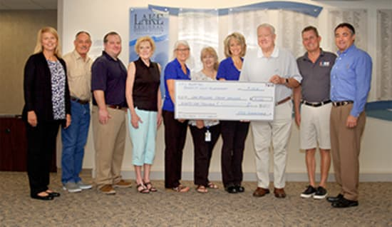 The Annual HK's Hospital Benefit Golf Tournament raised $91,619 for Lake Regional Cancer Services. Pictured are HK's committee members Jennifer Bethurem, Russ Pilshaw, Matt Tausig, Carolyn Davinroy, Terri Hall, Mary Ellen Coy, Marcy Maxwell, Peter Brown Sr., Mike Waggett and Jim Cleary.