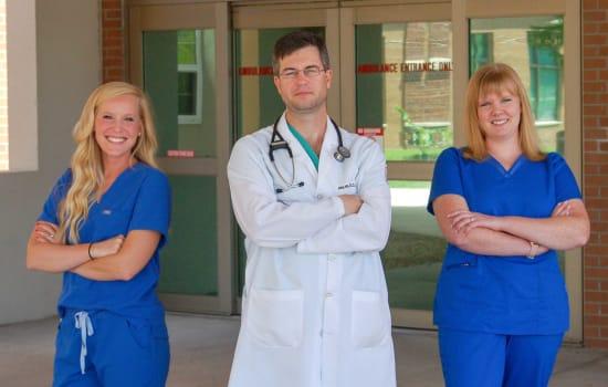 Lauryn Salts, R.N., Trauma nurse registrar; John Patton, D.O., FACOS, Trauma medical director; and Mariah Swinker, R.N., Trauma nurse coordinator