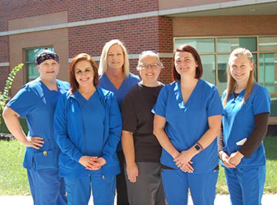 Pictured are Stephanie Dominque, R.N.; Monica Whitter, R.N., BSN; Anne Wilson, R.N.; Dee Ballard, R.N., BSBM, BCEN; Crystal Lloyd, R.N.; and Ashley Haslag, R.N., ALNC. Not pictured are Angie Halterman, R.N., and Wendy Pryor, R.N.
