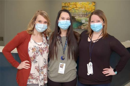 Megan Eidson, MSW; Josie Koontz, MSW; and Meghan O'Rourke, MSW, are a few of Lake Regional's social workers celebrating Social Work Month.