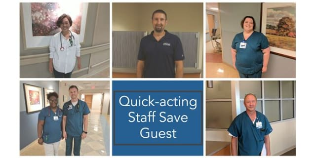 Quick-acting staff save guest