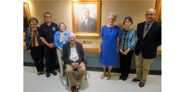Descendants of Dr. Sherrill at the portrait dedication at Iredell Memorial Hospital
