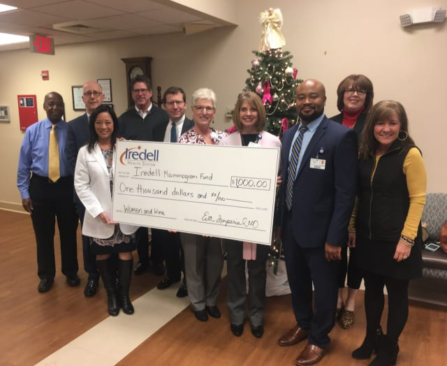 Pictured left to right: Ed Morgan, Director of Imaging Services; Ed Rush, CEO ; Eva Imperial, MD; Miles Atkins, Mayor of Mooresville; John Green, COO; Lois Beckett, manager of the Iredell Women's Health Center; Kim Holland, Director of Operations for the Iredell Physician Network; Harold Brown, Vice President of the Iredell Physician Network; Kim Atkins, Executive Director of the Mooresville Downtown Commission; and Beth Packard with Currents Magazine.