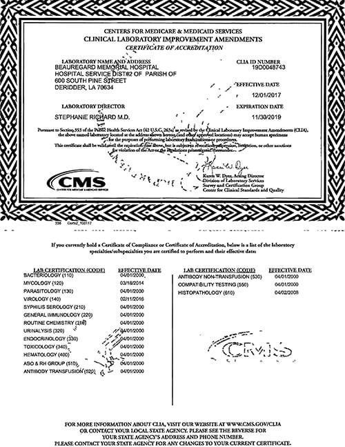CLIA Certificate