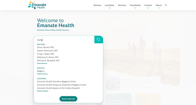 Emanate Health smart search