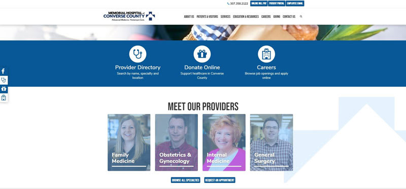Converse County provider-focused homepage
